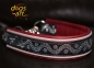 dogs-art TWICE WAVE Martingale Chain Leather Collar - burgundy/smoke/burgundy/wave