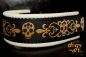 dogs-art Skulls Martingale Chain Leather Collar - creme/black/skulls gold