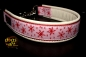 dogs-art Winter Wonderland Martingale Chain Leather Collar - creme/red/winter wonderland rose