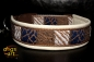 dogs-art Safari Easy Release Buckle Leather Collar - creme/silver/safari blue