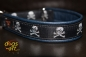 dogs-art Skulls Martingale Leather Collar - dark blue/black/skulls silver-black