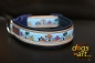 dogs-art Seaworld Easy Release Buckle Leather Collar - darkblue/sand/seaworld