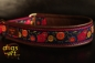 dogs-art Sunshineflower Martingale (brass) Leather Collar - dark brown/burgundy/sunshineflower purple