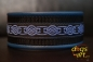 BIG-dog by dogs-art Celtic Knot Easy Release Buckle Leather Collar - electric blue/black/blue