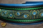 dogs-art TWICE Peacock Martingale Leather Collar - electric blue/black/green/peacock