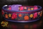 dogs-art Sunshine Flower Easy Release Buckle Leather Collar - electric purple/burgundy/purple