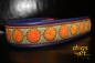 dogs-art Daisy Dot Martingale Chain Leather Collar - electric purple/orange/olive