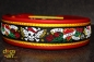 dogs-art Skulls and Roses Easy Release Buckle Leather Collar - firered/yellow/skulls