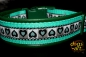dogs-art Summer Fling Easy Release Buckle Leather Collar - green/turquoise/summer fling