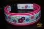 dogs-art Sunshine Flower Easy Release Buckle Leather Collar - hotpink/pink/blue