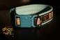 dogs-art Snake Easy Release Buckle Leather Collar - light blue/black/snake brown