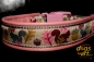 dogs-art Squirrels Easy Release Buckle Leather Collar - pink/silver/squirrels brown-purple