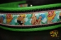dogs-art Pin up girls Martingale Chain Leather Collar - lime/black/pin up