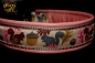 dogs-art Squirrels Martingale Chain Leather Collar - pink/silver/squirrels brown purple