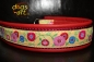 dogs-art Sunshine Flower Martingale Chain Leather Collar - red/burgundy/yellow