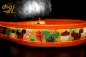 dogs-art Squirrels Easy Release Alu Buckle Leather Collar - tangerine/orange/squirrels gold