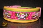 dogs-art Pinky Skull Easy Release Buckle Leather Collar - yellow/kiwi/pink