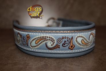 dogs-art Paisley Perfection Martingale Chain Leather Collar - arctic blue/sand/blue