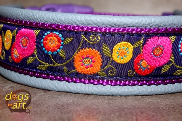 dogs-art Sunshine Flower Easy Release Buckle Leather Collar - arctic blue/purple/dark purple