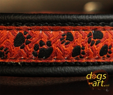 dogs-art Pawprint Easy Release Buckle Leather Collar - black/black/pawprint