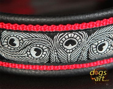 dogs-art Peacock Easy Release Buckle Leather Collar- black/red/peacock black