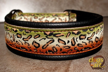 dogs-art Cheetah Martingale Leather Collar - black/sand/cheetah olive