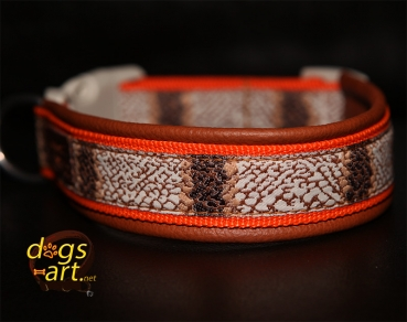 dogs-art Snake Easy Release Buckle Leather Collar - brown/orange/snake brown