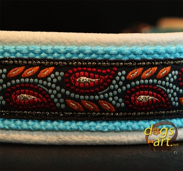 dogs-art Leaves Martingale Chain Leather Collar - creme/aqua/leaves orange