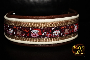 dogs-art TWICE Snow Dance Martingale Chain Leather Collar - dark brown/creme/camel/snow dance