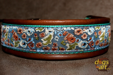 dogs-art Island Easy Release Buckle Leather Collar - dark brown/mint/island