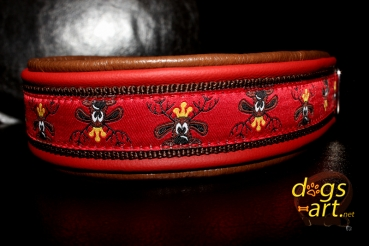 dogs-art TWICE Rudi Martingale Leather Collar - dark brown/fire red/brown/rudi red