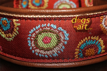 BIG-dog by dogs-art Flower Dot Martingale Leather Collar - darkbrown/sand/flower dot