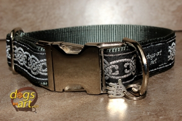 dogs-art Celtic Knot Easy Release Metal Buckle Collar - dark grey/celtic knot silver