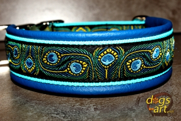 dogs-art Peacock Easy Release Metal Buckle Leather Collar - electric blue/aqua/peacock