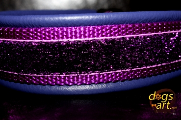 dogs-art Purple Glitter Martingale Leather Collar - purple/purple/purple