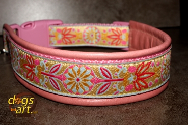 dogs-art Pinwheel Zinnia Easy Release Buckle Leather Collar - pink/pink/yellow-pink