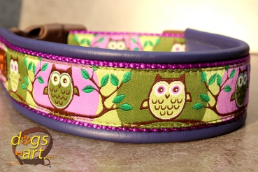 dogs-art Owl Easy Release Buckle Leather Collar - electric purple/purple/owl forest