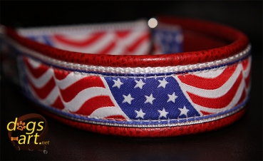 dogs-art US Flag Martingale Leather Collar - red two toned/white/us flag