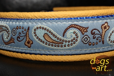 dogs-art Paisley Martingale Chain Leather Collar - yellow/blue/blue