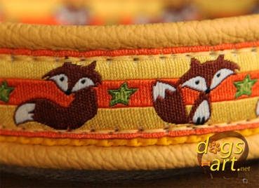 dogs-art Fox Easy Release Buckle Leather Collar - yellow/yellow/fox yellow