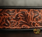 BIG-dog by dogs-art Limited Edition Easy Release Alu Buckle Leather Collar - black/embossed bronze