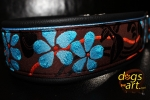 BIG-dog by dogs-art Flower Easy Release Alu Buckle Leather Collar - black/light blue/brown-blue
