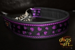 dogs-art Love Martingale Chain Leather Collar - black/purple/love