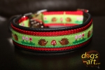 dogs-art Hedgehog Easy Release Alu Buckle Leather Collar - black/red/hedgehog green