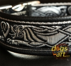 dogs-art Celtic Dragon Easy Release Alu Buckle Leather Collar - black/silver/celtic dragon