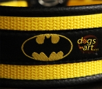 BIG-dog Batman Easy Release Alu Buckle Leather Collar - black/yellow/batman