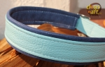 dogs-art TWICE Easy Release Alu Buckle Leather Collar - sparkly blue/light blue