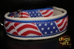 dogs-art US-Flag Easy Release Alu Buckle Leather Collar - creme/blue/us flag