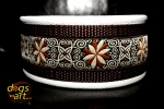 BIG-dog by dogs-art Pinwheel Zinnia Martingale Chain Leather Collar - creme/brown/zinnia brown