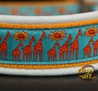 dogs-art Giraffe Martingale Leather Collar - creme/sunyellow/giraffe